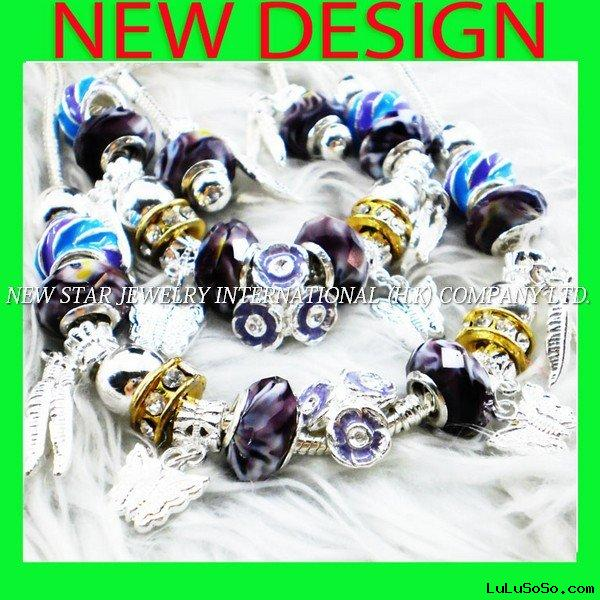 2011 New Design Pandora Bracelet Necklace Earring Set Jewelry F831