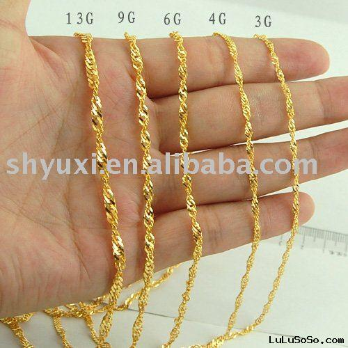24K Yellow Gold necklace Chain /fashion necklace