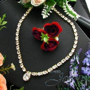 53x14~7mm White Created Diamond Gold Plated Necklace