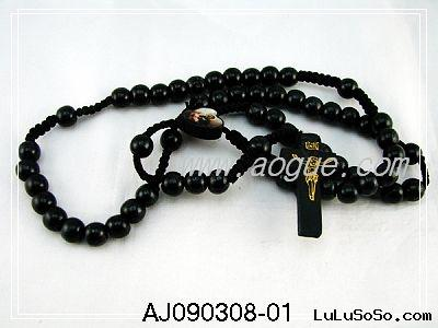 Black Wooden Rosaries Necklace,Wood Rosary,Wooden beads Necklace