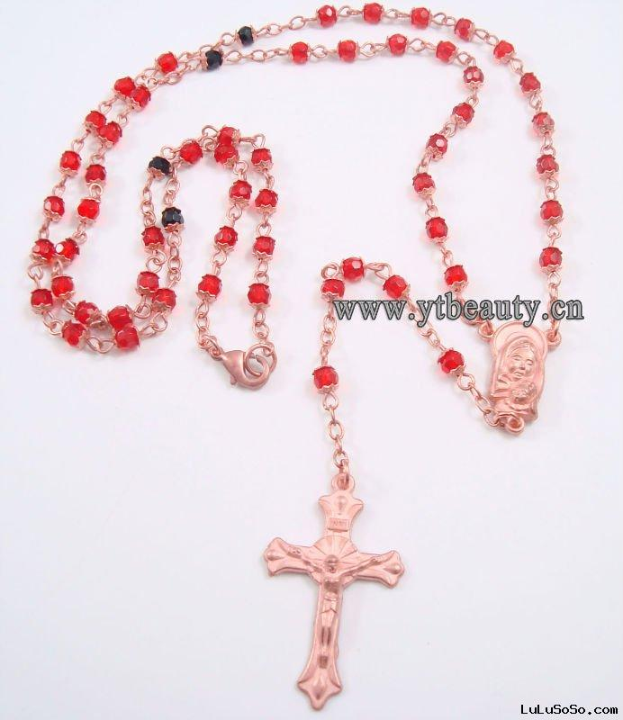 Copper Rosary/Rosaries necklace,red crystal beads