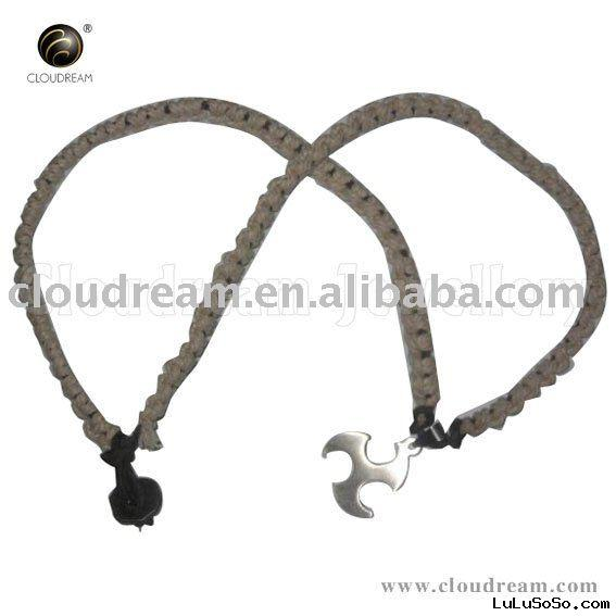 Fashion braided leather necklace