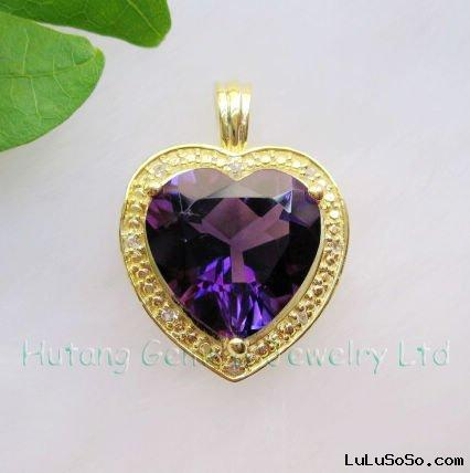 Fashion gold Jewelry: 14k Gold Pendant jewelry with Gemstone