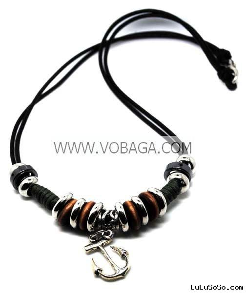 Fashion styles  leather pendant necklace engraved leather bracelets free shipping