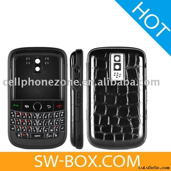 Housing Cover Keypad - Black Matte Frame With Crocodile for BlackBerry Bold 9000