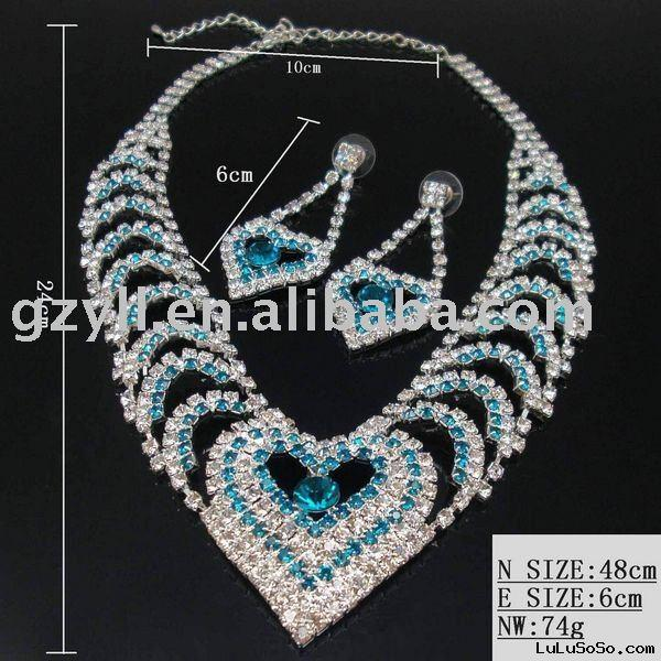 NEW DESIGN wholesale fashion & charm aloy jewelry set (necklace, bracelet,earring and ring)
