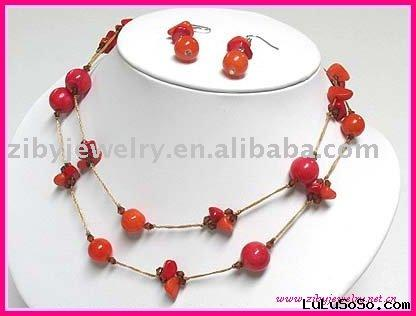 Natural chip stone and glass ball long necklace and earring set
