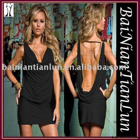 Open Back Party Dress with Gold Chains