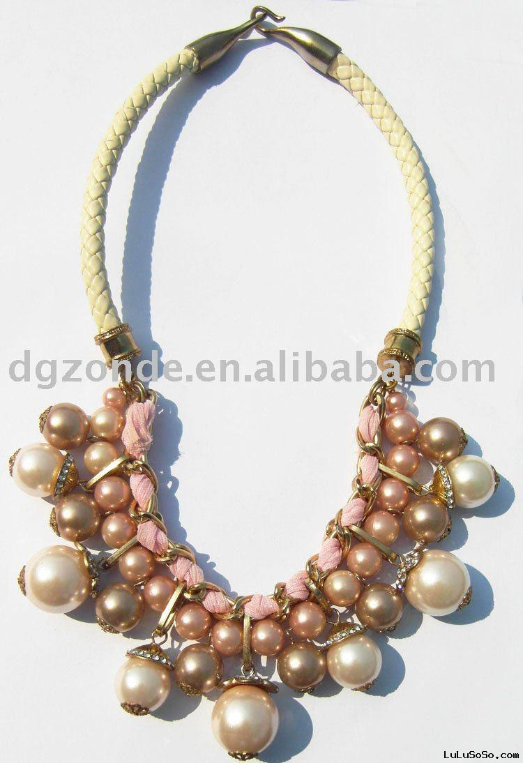 Pink Leather Cord Necklace