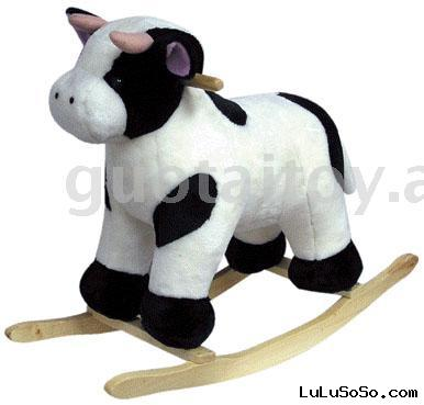 Plush baby rocking cow  with wooden base
