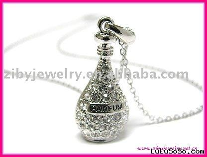 White gold palting crystal miniature perfume bottle pendant necklace