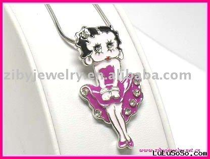 White gold plating crystal and enamel cartoon character betty boop necklace