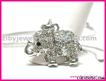 White gold plating crystal elephant necklace