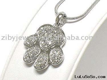 White gold plating crystal paw necklace