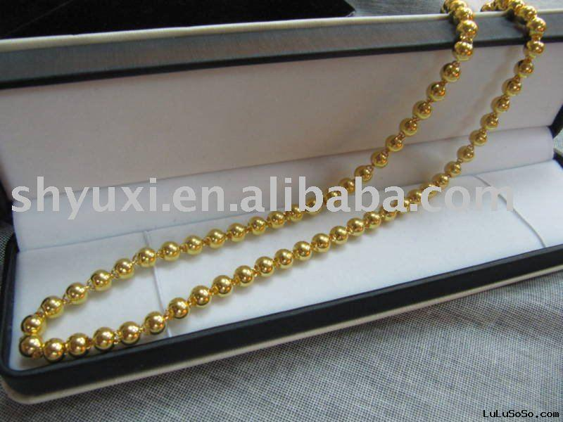 Wholesale 42.7g Solid 24K Yellow gold beads Necklace