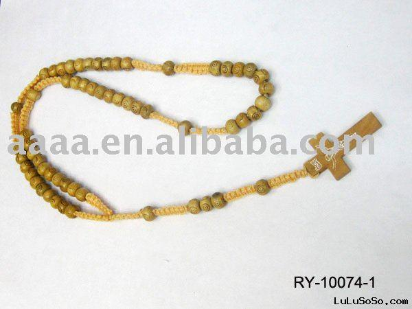 Wood Rosary Necklace