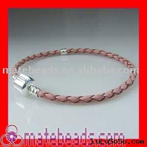 braided leather bracelets/PINK