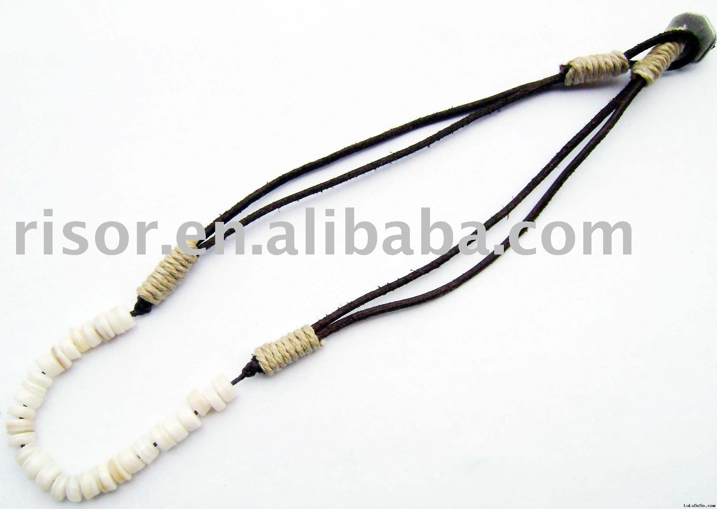 ceramic leather necklace