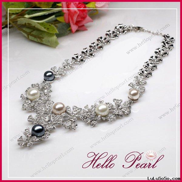fashion flower pearl necklace