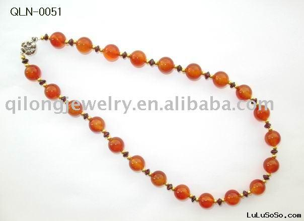 fashion red agate necklace