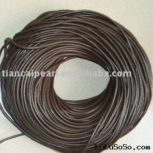 findings round coffee real leather cord 100m 2mm
