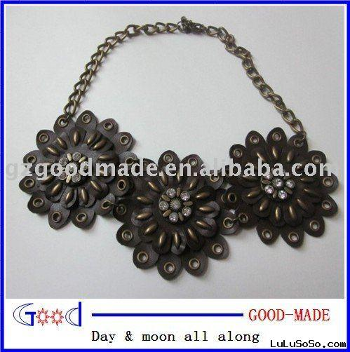 genuine leather flower necklace
