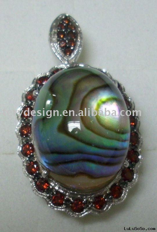 jewelry-925 SILVER PENDANT WITH (INDONESIA) ABALONE SHELL(HALIOTIS IRIS) AND COLOR CZ STONE