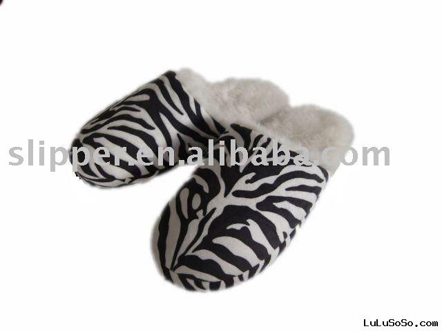 ladies zebra  indoor slipper
