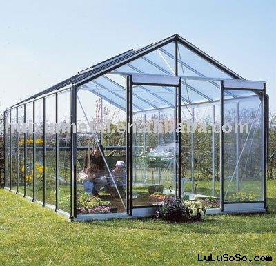 perfect popular design commercial tempered glass greenhouse kit,glazing green house R303L
