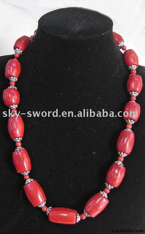 red coral necklace/red coral jewelry/fashion necklace