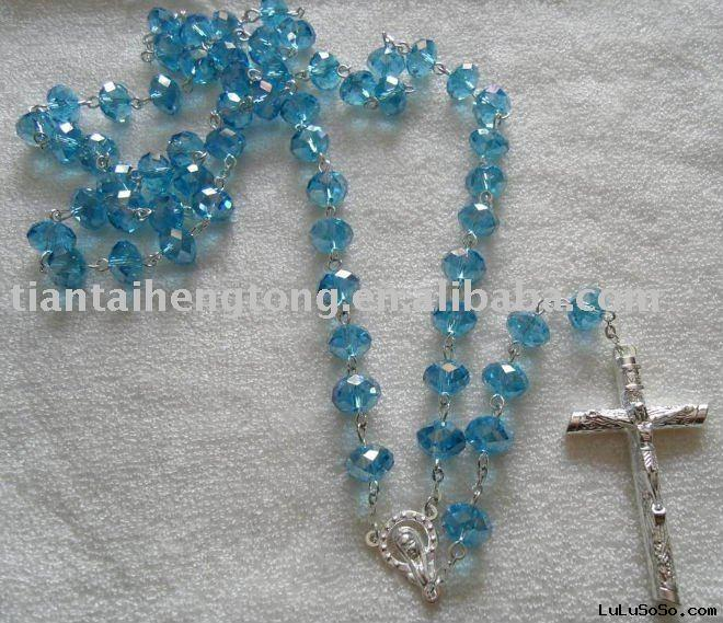 silver crystal rosary