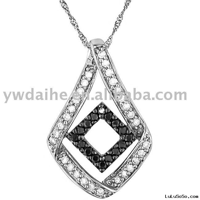 silver diamond pendent necklace