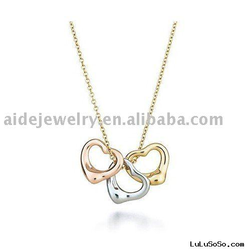 three hearts charms necklace
