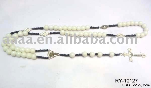white beads rosary necklace