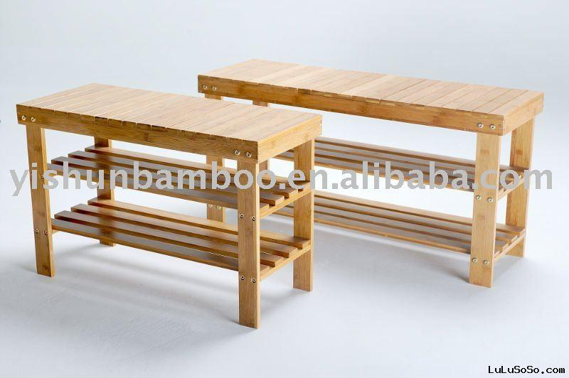 Adjustable and Foldable Bamboo Shoes Bench