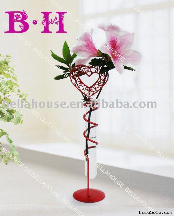 BH900736 glass flower holder with metal stand for Valentine's day or home deco