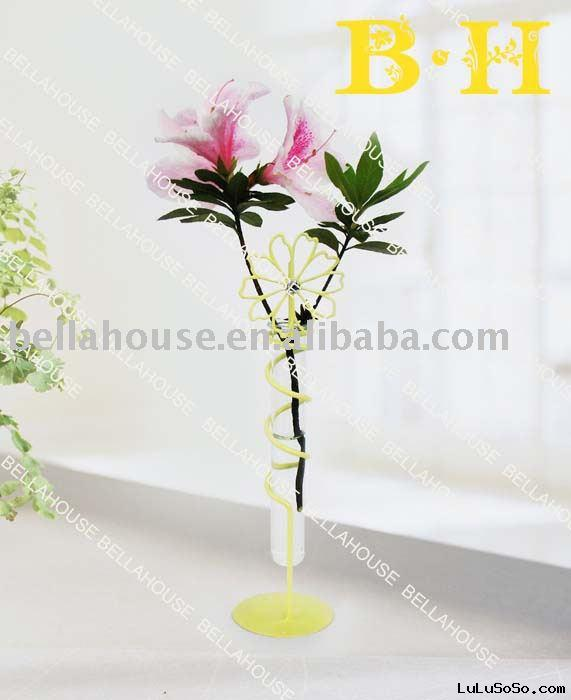BH900737 glass flower holder with metal stand for home deco