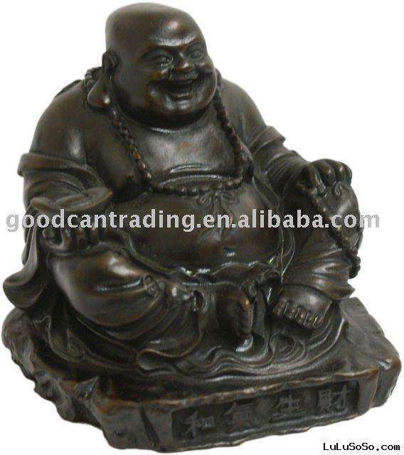 BROWN RESIN SITTING GOODLUCK BUDDHA STATUE HOLDING ANCIENT CHINESE COIN AND MALLAH BEADS