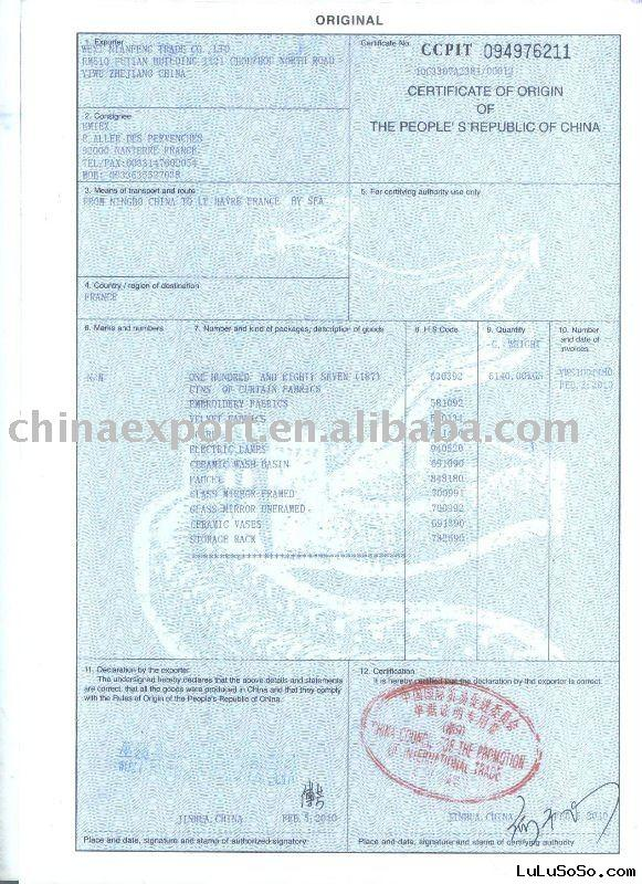 Certificate of Origin (CO) service in China