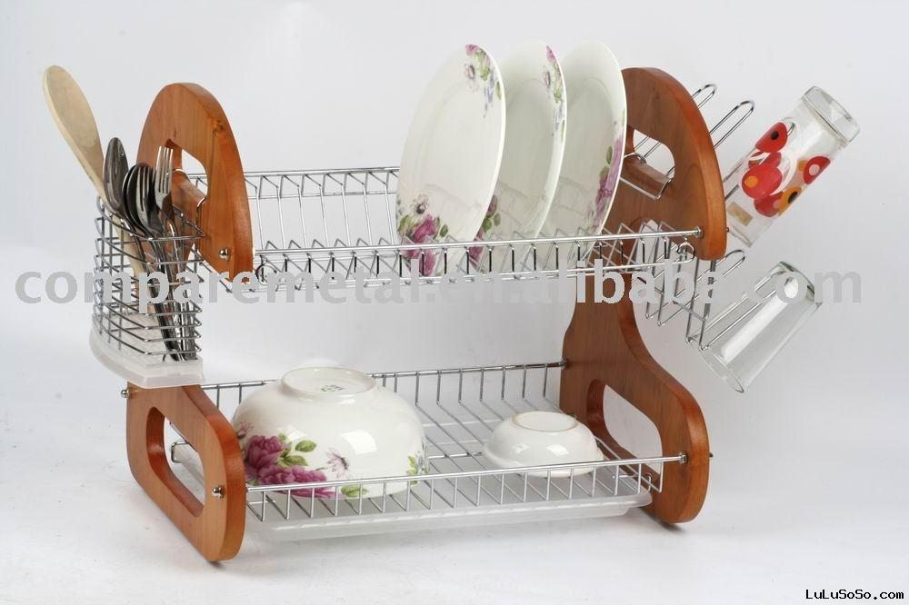 Folding wooden dish rack