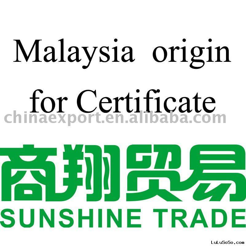 Malaysia origin for Certification