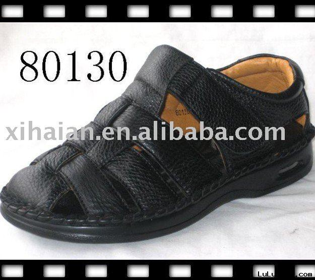 Men black leather slipper