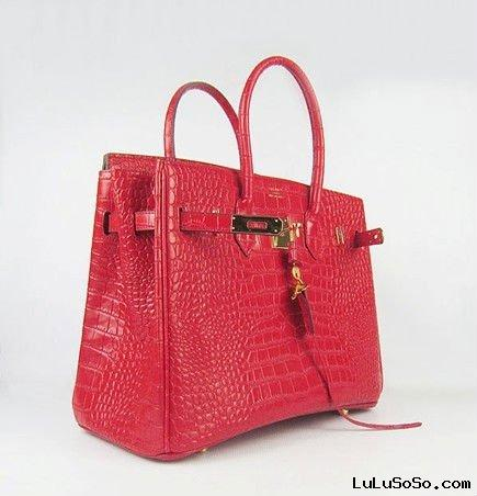 brand fashion red alligator leather bag