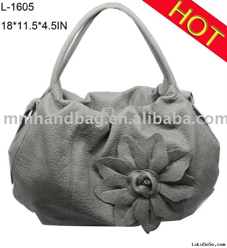 designer flower leather handbag/wholesale pu fashion bag