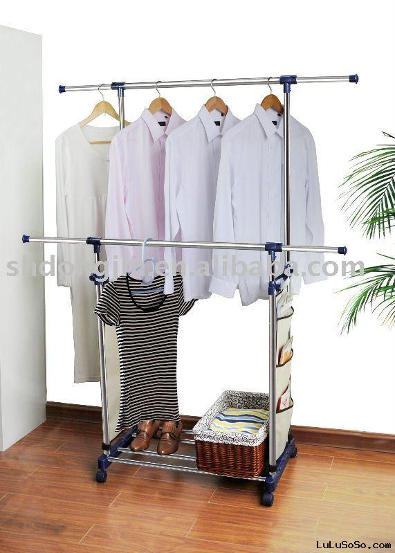 extendable stainless steel double-bar garment rack