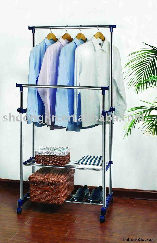 stainless steel double bar clothes rack