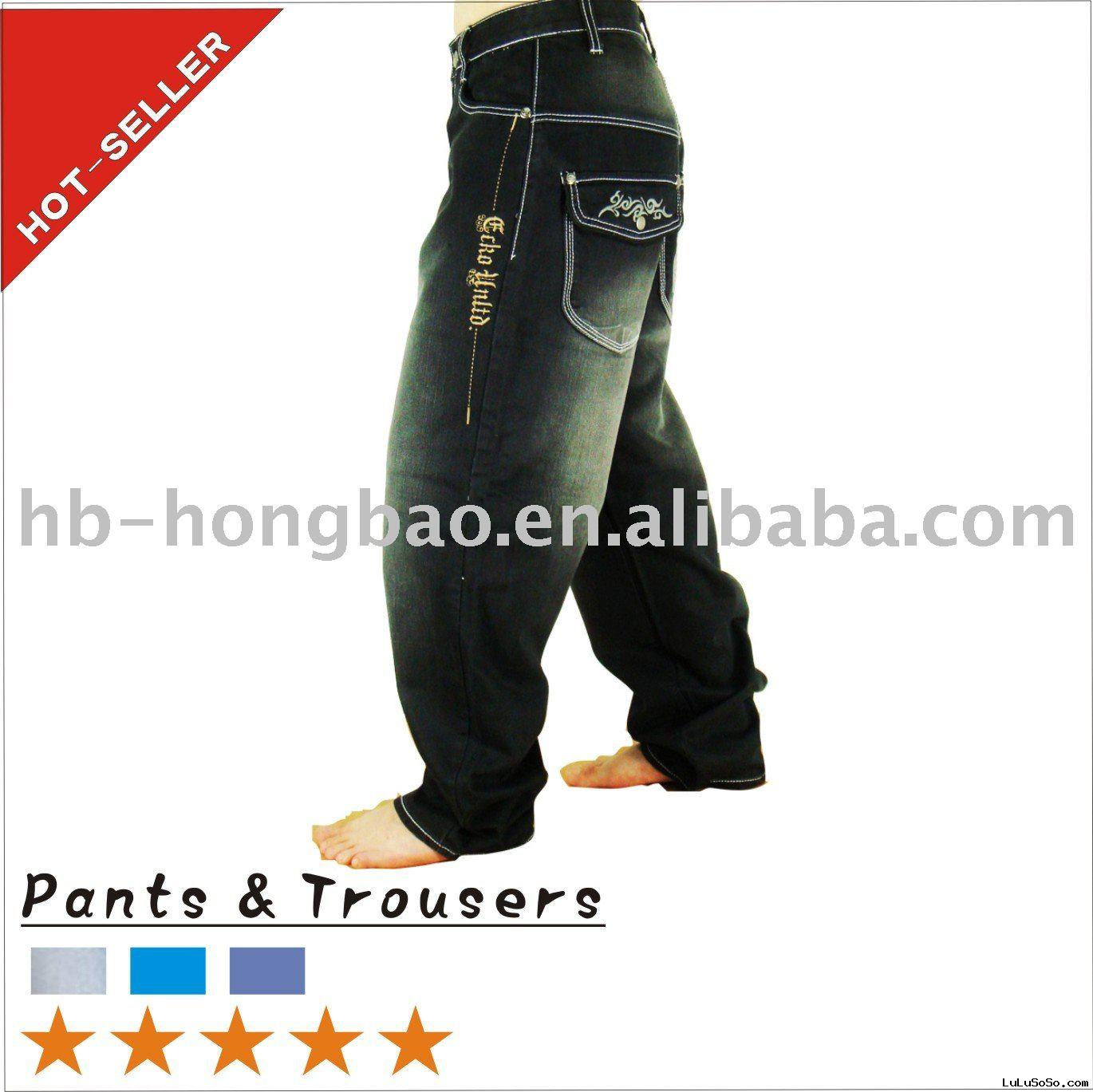 34'' Inseam Embroidery Pocket Design Mens Pants