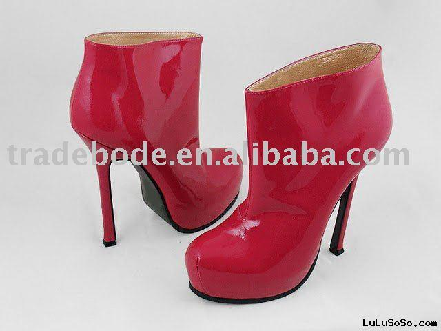 Designer leather boots black tall high heel boots for lady high heels boots leather