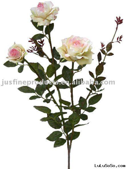 "Fabric Flower of 39.37""H Elegant Artificial Rose Spray with 3 Flowers, Handmade Flower"