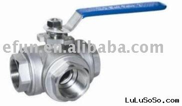Stainless steel Sanitary Threaded 3-way Ball Valve